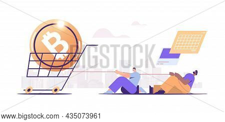 Businesspeople Pulling Trolley Cart With Bitcoin Coin On Rope Cryptocurrency Mining Virtual Money Di
