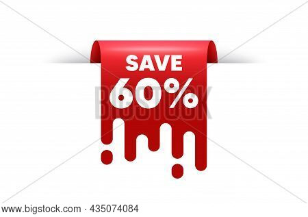Save 60 Percent Off. Red Ribbon Tag Banner. Sale Discount Offer Price Sign. Special Offer Symbol. Di