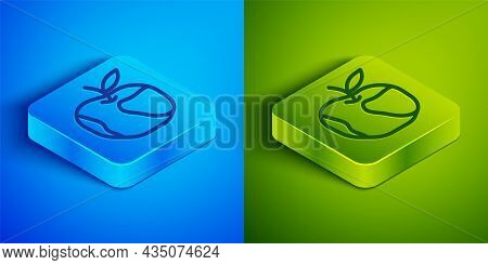 Isometric Line Apple Icon Isolated On Blue And Green Background. Excess Weight. Healthy Diet Menu. F