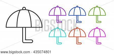 Black Line Umbrella Icon Isolated On White Background. Insurance Concept. Waterproof Icon. Protectio