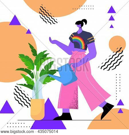Housewife Watering House Plants Woman Wearing Rainbow Lgbt T-shirt Transgender Love Housework Concep