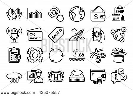 Vector Set Of Recycling, Eye Checklist And Wash Hands Line Icons Set. Calendar Report, Money Wallet
