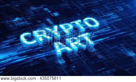 Crypto art concept. NFT - Crypto art nonfungible tokens on blue technology background. 3d rendering