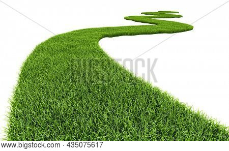 Green Grass path. Grass road on white background. 3d rendering