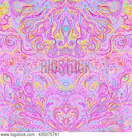 Hypnotic Shamanic Acid Patterned Background. Hand Drawn Design In Ethnic Indian Style. Mystic Abstra