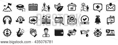 Set Of Business Icons, Such As Hold Box, Parking Garage, Journey Path Icons. Loyalty Program, Organi