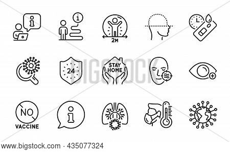 Medical Icons Set. Included Icon As Covid Test, 24 Hours, Problem Skin Signs. No Vaccine, Stay Home,