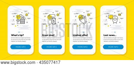 Vector Set Of Clapping Hands, Payment And Seo Shopping Line Icons Set. Ui Phone App Screens With Lin