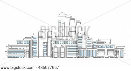Industrial Complex With Pipes.city Factory.modern Thin Line Design Style.buildings Architecture. Vec