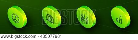 Set Isometric Line Rouble, Ruble Currency, Tin Can With Caviar, Saint Basils Cathedral And Bottle Of