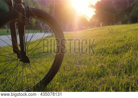 Bicycle Front Wheel Close Up In City Park On A Sunny Day