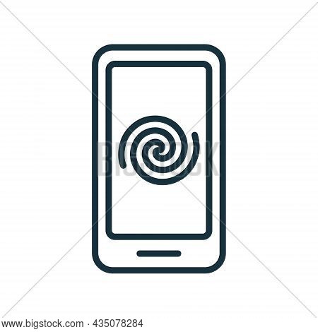 Mobile Phone Addiction And Bad Influence Line Icon. Internet Harmful Doom Surfing Outline Icon. Unhe