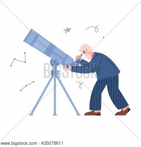 Astronomy Scientist Or Stargazer Observing Stars Vector Illustration Isolated.