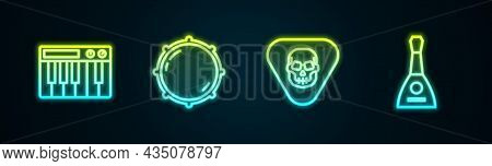 Set Line Music Synthesizer, Dial Knob Level, Guitar Pick And Balalaika. Glowing Neon Icon. Vector
