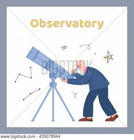 Observatory Card With Astronomer Looking Through Telescope Vector Illustration.