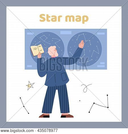 Poster Or Card With Astronomer In Front Of Sky Map, Flat Vector Illustration.