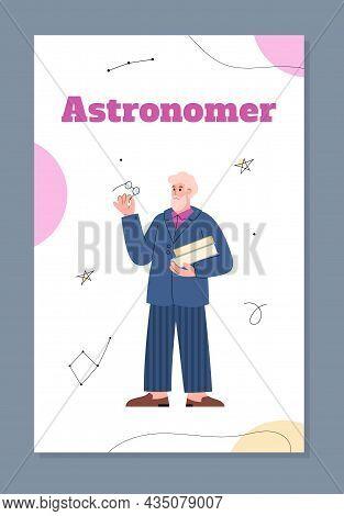 Astronomer Or Stargazer Profession Poster Or Card, Flat Vector Illustration.