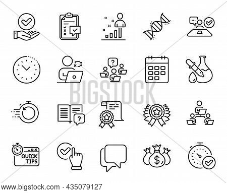 Vector Set Of Check Investment, Chemistry Dna And Teamwork Question Line Icons Set. Checkbox, Approv