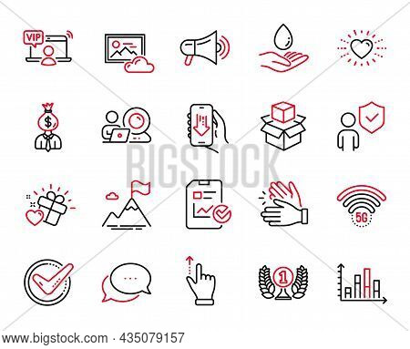 Vector Set Of Business Icons Related To Love Gift, Mountain Flag And Megaphone Icons. Touchscreen Ge
