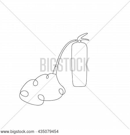 Continuous One Line Drawing Of Fire Extinguisher Icon In Silhouette On A White Background. Linear St