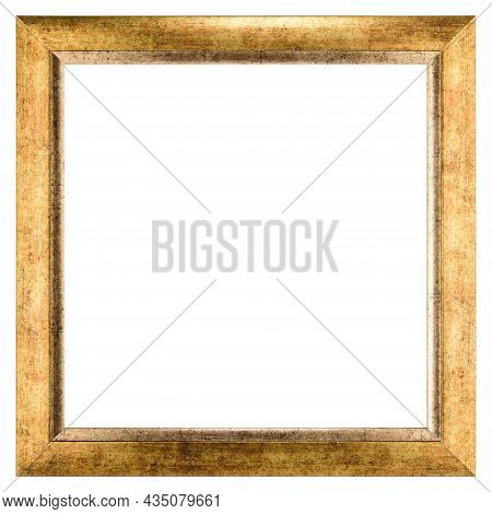 Golden Old Vintage Wooden Mockup Canvas Frame Isolated On White Background. Blank Beautiful And Dive