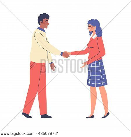 People Greet Each Other With Handshaking Flat Vector Illustration Isolated.