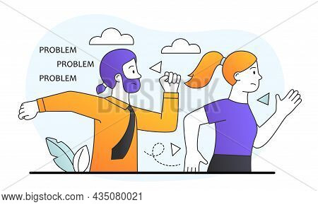 Struggle With Career Obstacle. Man And Woman Run To Solve Problems, Employees Overcome Difficulties.