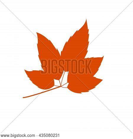 Flat Leaf Icon Silhouette. Filled Leaf Glyph.