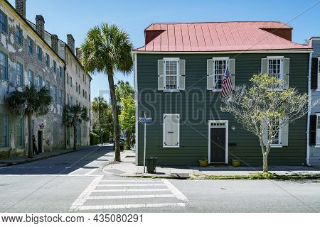 Charleston Sc - February 28, 2019: Historical Downtown Colored Buildings In Charleston, South Caroli