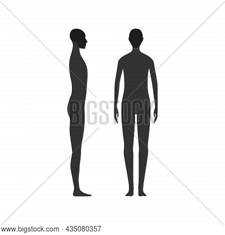 Side And Front View Silhouette Of A Gender Neutral Person With A Highlighted Skull And Chin Area.