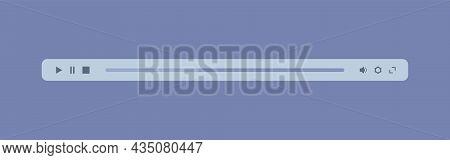 Multimedia Player Bar. Minimized Audio Video Player Control Panel