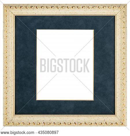 Golden Blue Mockup Canvas Frame Isolated On White Background