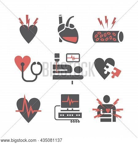 Atherosclerosis. Coronary Artery Disease. Treatment Icons Set. Vector Signs For Web Graphics.