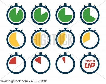 Countdown Timer Icon Set. Time Sequence Runs Until Time's Up. Perfect For The Design Elements Of Tim