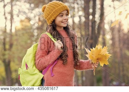 Feeling The Nature. Autumn Knitted Fashion. Back To School. Season For Inspiration. Happy Childhood.