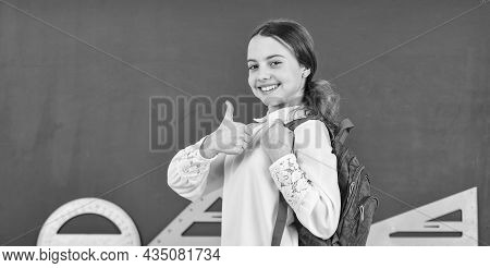 Pupil Go Study With Backpack. Back To School. Backpack Travel Girl. Kid With Backpack. Girl Ready To