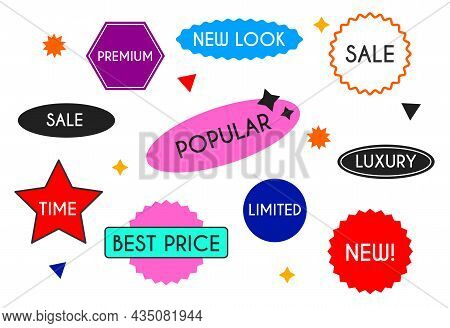 Set Of Promo Labels. Minimalistic Tags, Graphic Elements For Online Stores. Best Price, Popular, Sal