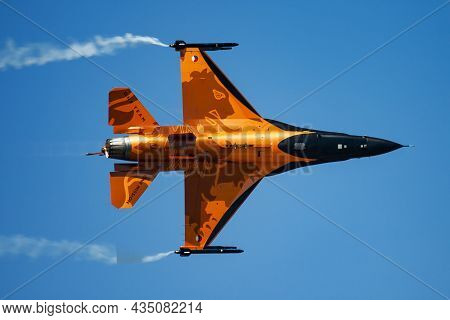 Kecskemet, Hungary - August 3, 2013: Military Fighter Jet Plane At Air Base. Air Force Flight Operat