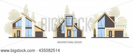 Set Of Modern Houses, Cottages In Minimalistic Style With Panoramic Windows Isolated On White. Real