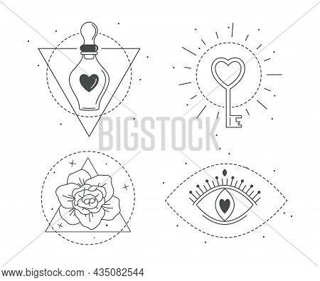 Mystic Icons, Love Potion, Magic Key, Evil Eye Of Providence, Beautiful Flower. Line Art. Decoration