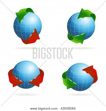 Planet set with arrow. Red, green arrow-vector. poster