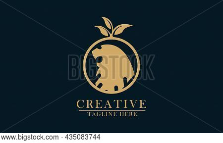 Forest And Lion Concept, Good For Animal Conservation Logo Icon, Protection, Maintenance. Vector Con