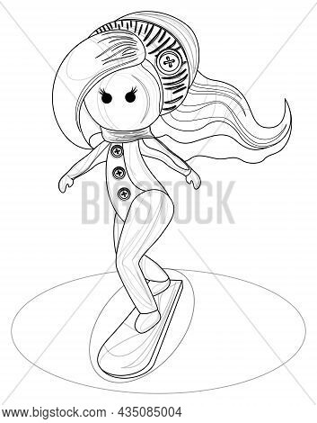 Vector Image Of A Stylized Image Of A Young Sports Girl On A Snowboard. Outline Style. Isolated Over