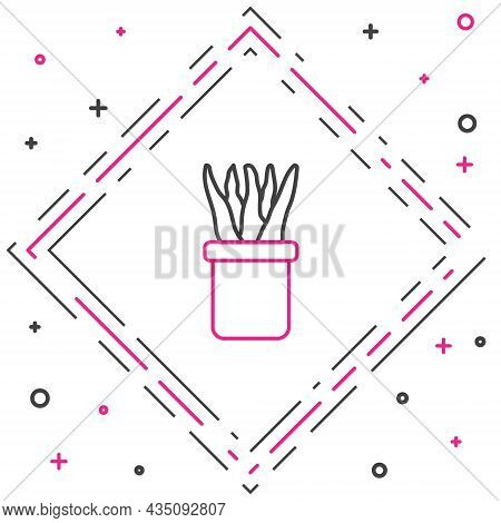Line Plant In Pot Icon Isolated On White Background. Plant Growing In A Pot. Potted Plant Sign. Colo