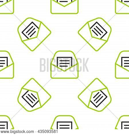 Line Mail And E-mail Icon Isolated Seamless Pattern On White Background. Envelope Symbol E-mail. Ema