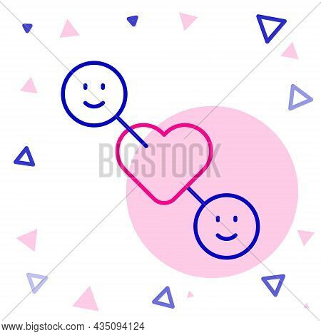 Line Romantic Relationship Icon Isolated On White Background. Romantic Relationship Or Pleasant Meet