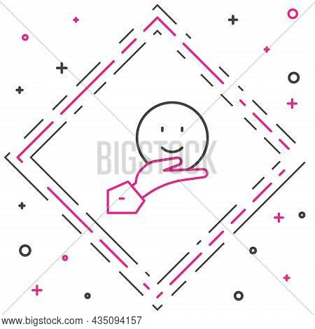 Line Happy Friendship Day Icon Isolated On White Background. Everlasting Friendship Concept. Colorfu