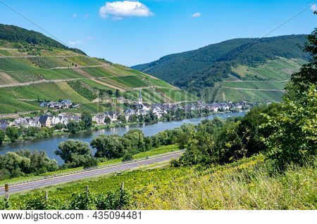 View On Mosel River, Hills With Vineyards And Old Town Zell, Germany