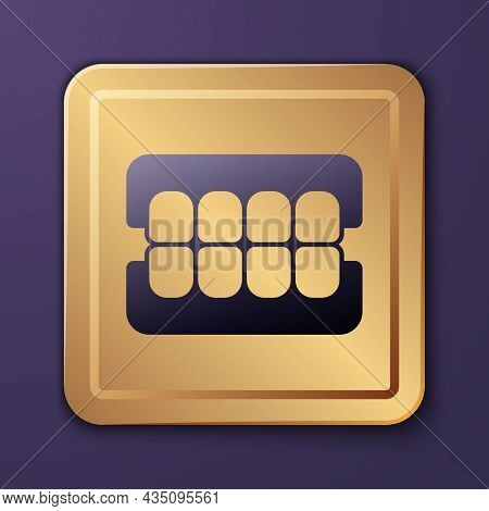 Purple False Jaw Icon Isolated On Purple Background. Dental Jaw Or Dentures, False Teeth With Inciso