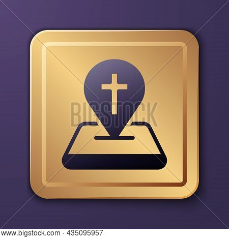 Purple Map Pin Church Building Icon Isolated On Purple Background. Christian Church. Religion Of Chu